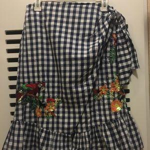 Zara gingham embroidered embellished wrap skirt